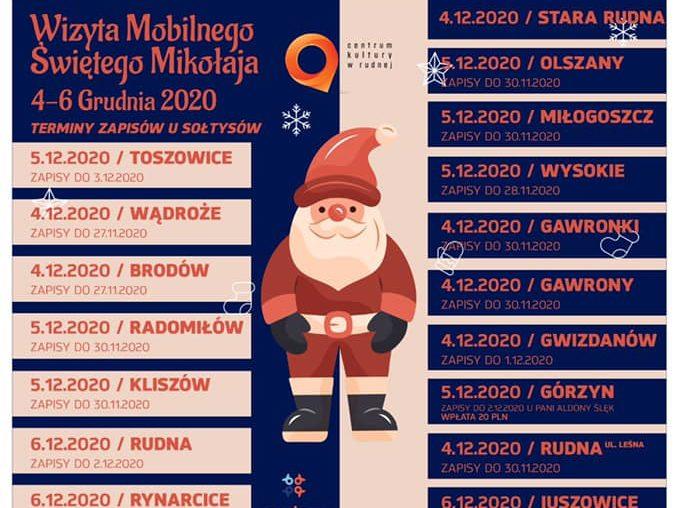 Plakat odwiedzin świętego Mikołaja