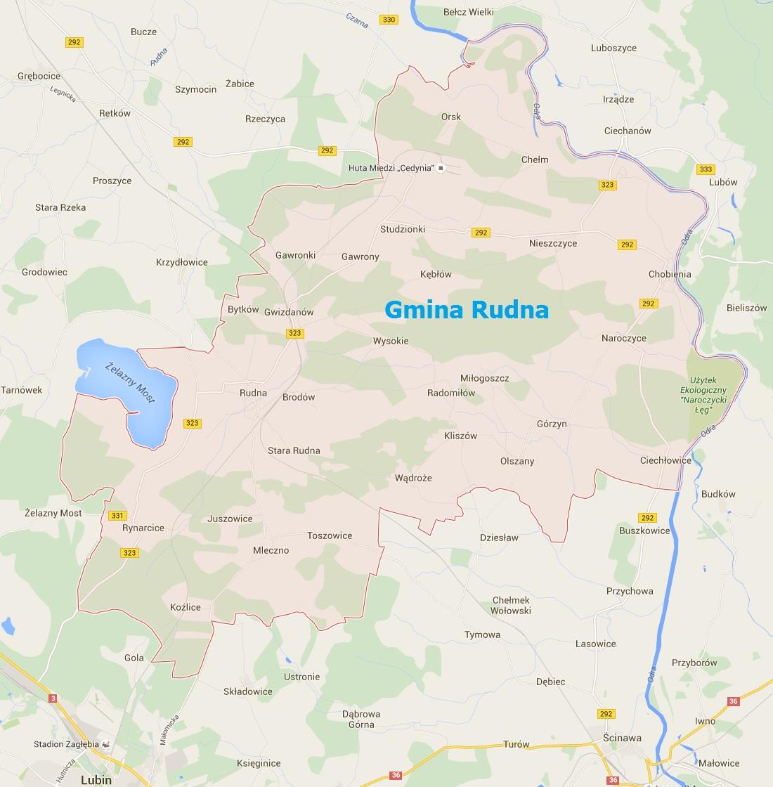 mapa gmina rudna