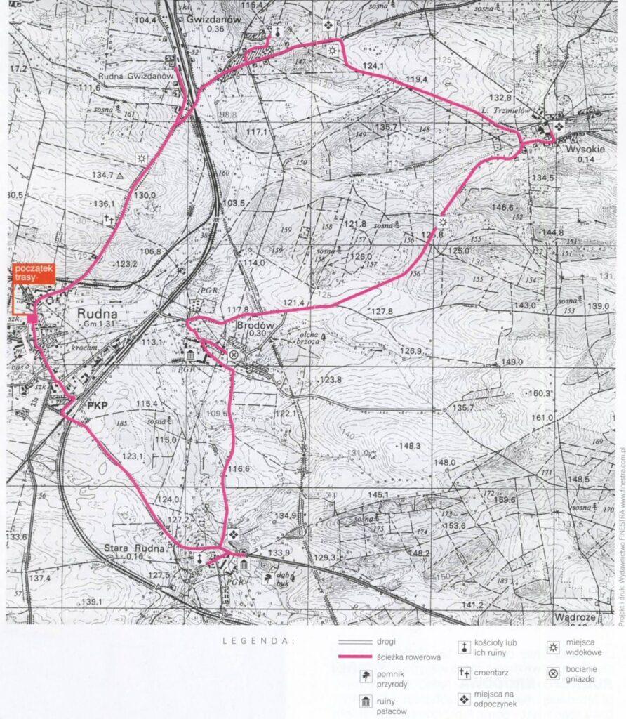mapa trasy rowerowej szlakiem pałaców