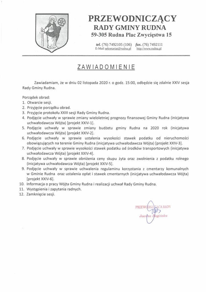 Porządek obrad sesji rady gminy Lubin